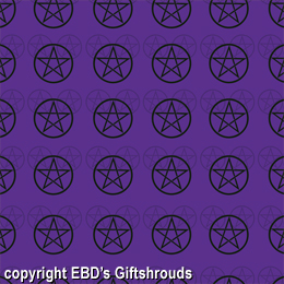 "24"" x 48"" (8 square feet on roll) Black and Monochromatic Pentacles on Purple Wrapping Paper. For those who say purple is the color of magic!"